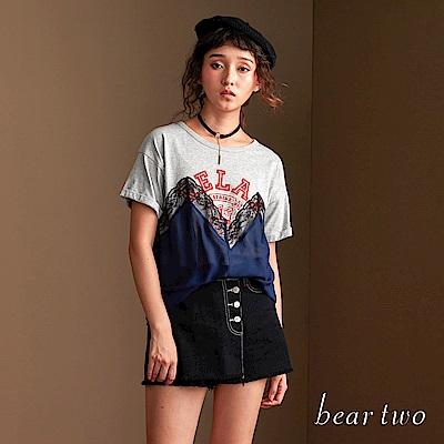 beartwo 休閒可愛圖騰蕾絲外罩短袖Tshirt(二色)