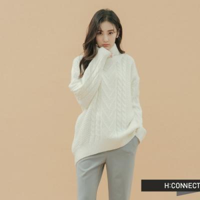 H:CONNECT 韓國品牌 女裝 - 高領麻花針織上衣 - 白
