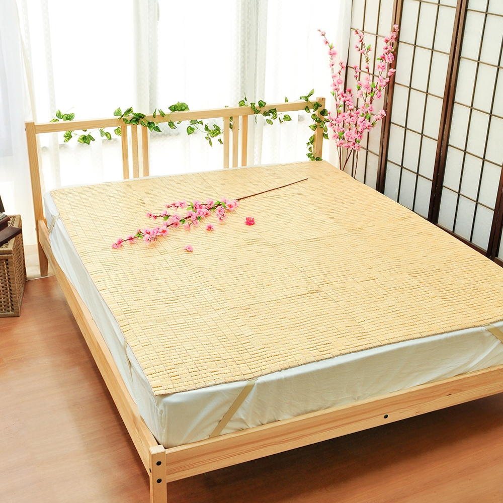 亞曼達Amanda 專利棉織帶天然麻將涼竹蓆/涼墊/涼蓆 -雙人5尺 (四角可固定) -快速到貨