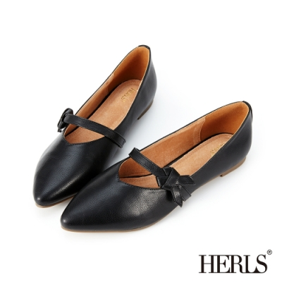 HERLS 內真皮打結瑪莉珍尖頭平底鞋-黑色