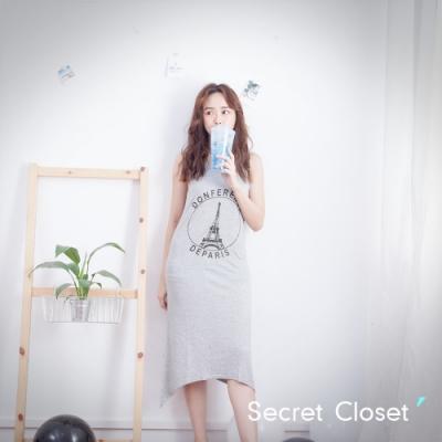 Secret Closet-鐵塔字母不規則棉質洋裝-灰色