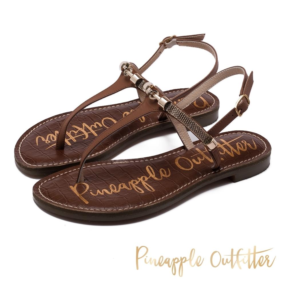 Pineapple Outfitter 真皮復古感金屬環T字帶平底涼鞋-卡其棕