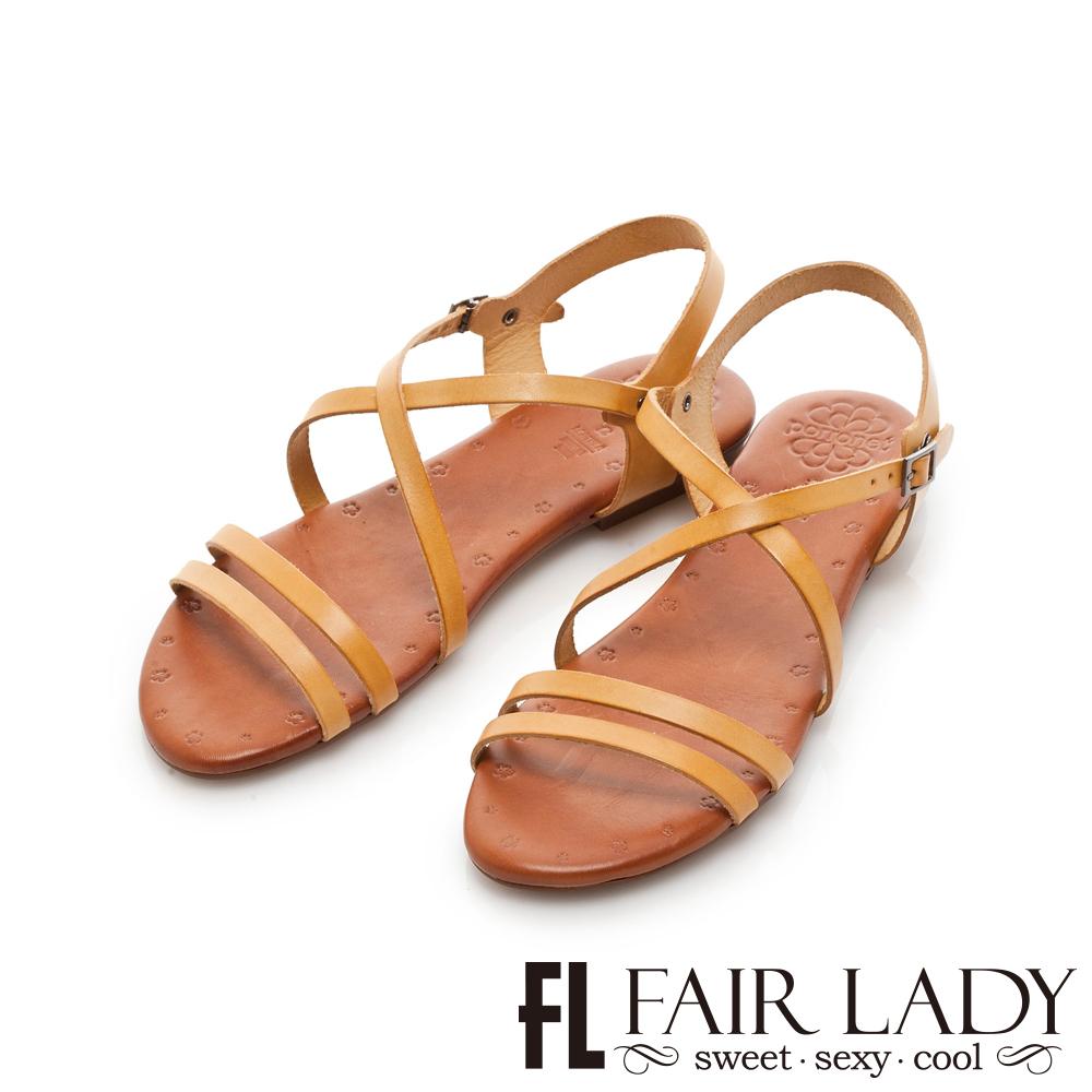 Fair Lady PORRONET 皮革交叉繞帶平底涼鞋 黃