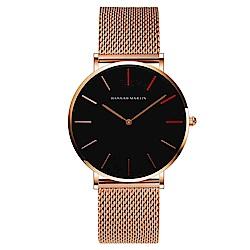 HANNAH MARTIN 北歐極簡無秒針設計腕錶-金色米蘭帶x40mm