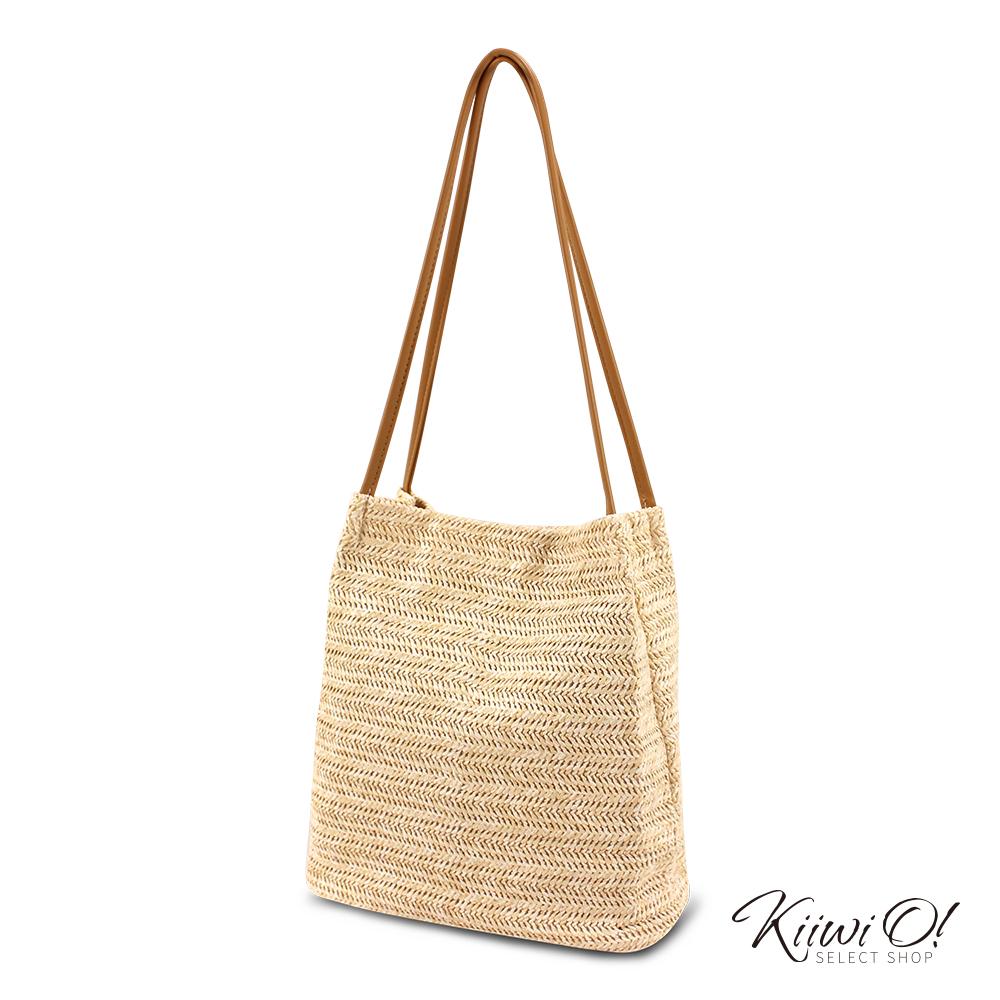 Kiiwi O! bucketbag   夏季簡約草編水桶包 杏色