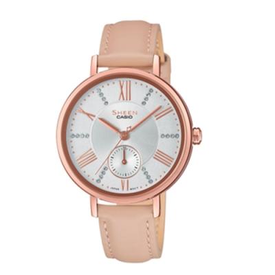 CASIO卡西歐 氣質簡約俐落指針皮革女腕錶(SHE-3066PGL-7B)-粉x36mm