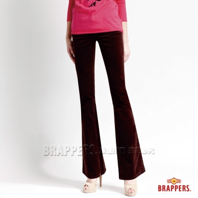 BRAPPERS 女款 美尻腳Royal系列-女用彈性平面絨鑲鑽小喇叭褲-酒紅