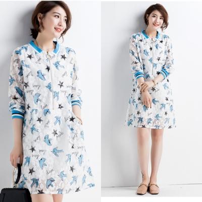 【韓國K.W.】時尚甜心印花款修身洋裝-1色