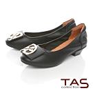 TAS造型飾釦拼接鬆緊帶娃娃鞋-經典黑