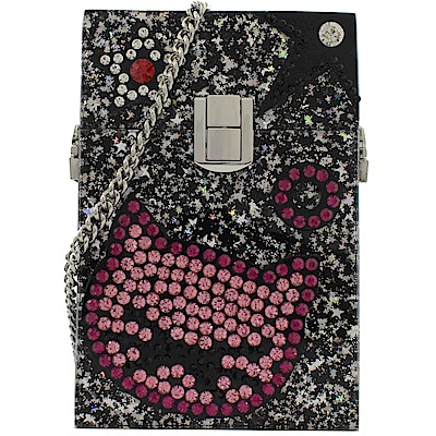 KARL LAGERFELD 貓咪水鑽造型亮片硬殼斜背小方包