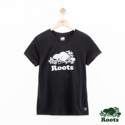 女裝Roots 派尼頓短袖T恤-黑
