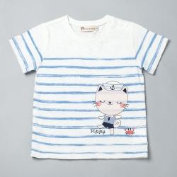 PIPPY貓咪航海士條紋上衣 米