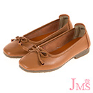 JMS-通勤經典款素面蝴蝶結牛皮娃娃鞋-棕色