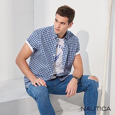 Nautica經典小格紋短袖襯衫-深藍格