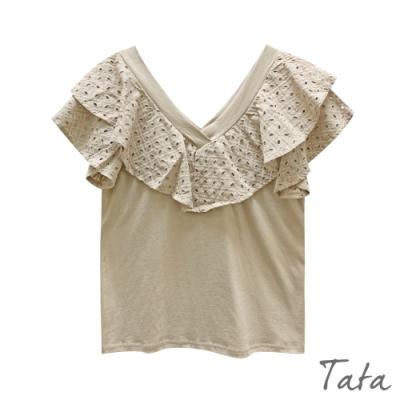 V領拼接蕾絲荷葉上衣 共三色 TATA-F