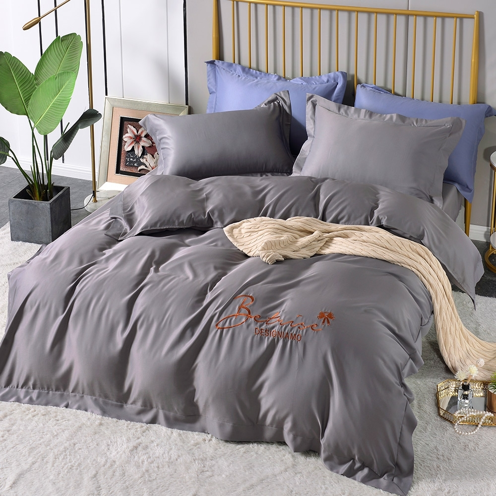 (超值加購枕套) Betrise極簡純色 抗菌天絲素色刺繡系列 超值薄被套+薄枕套床包組 (07.步數煙雨-雙人床包枕套三件組)