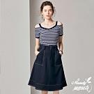 Mandy國際時尚 二件套組 條紋針織上衣+中長款牛仔裙子_預購【歐美服飾】