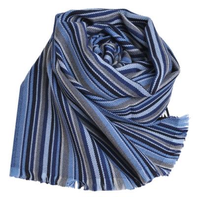 MOSCHINO 義大利製繽紛直紋圖騰100%羊毛披肩/圍巾(藍色系)