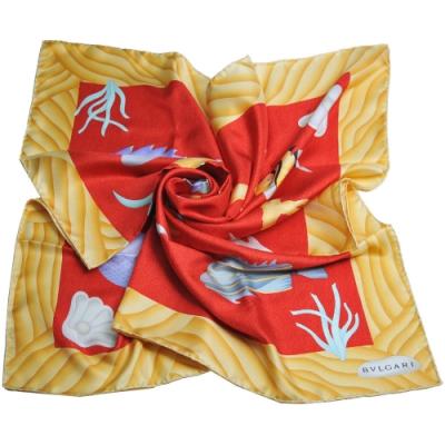 BVLGARI 義大利製熱帶魚圖騰字母LOGO100%絲質大絲巾(紅底/卡其黃邊)