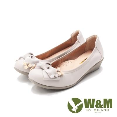 W&M(女)花串串可愛蝴蝶結娃娃鞋 女鞋-米白(另有淺粉)