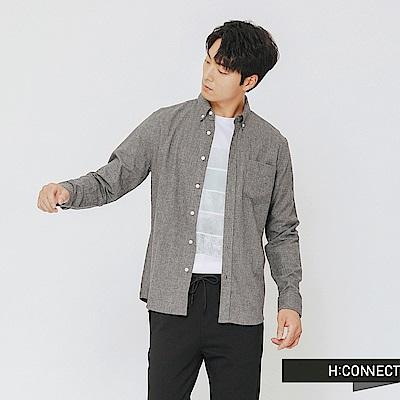 H:CONNECT 韓國品牌 男裝-格紋單口袋襯衫-灰