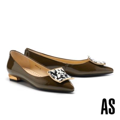 低跟鞋 AS 輕奢時髦石紋金屬方釦羊麂皮尖頭低跟鞋-綠