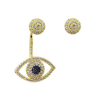 apm MONACO法國精品珠寶 璀璨之眼鍍K金鑲鋯耳針式耳環