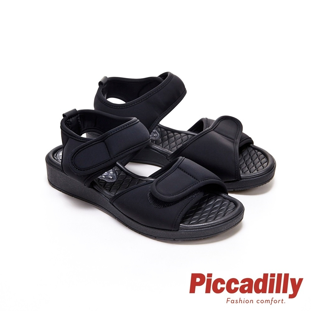 Piccadilly 寬帶可調整素面彈性休閒 坡跟涼鞋 黑(另有卡其 粉桔)