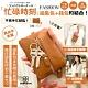 CHENSON真皮 三夾層鑰匙包零錢包(送頸掛繩+手腕帶) 咖啡(W00158-B) product thumbnail 2