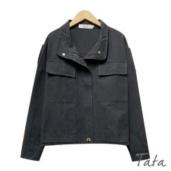 胸前雙口袋下擺抽繩外套 TATA-(M/L)