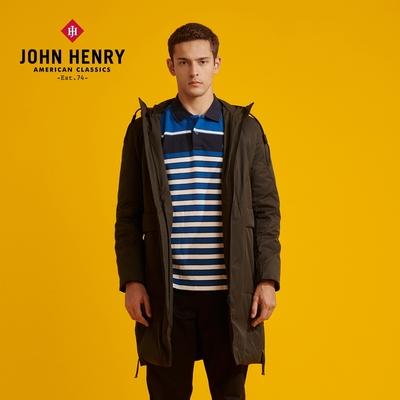 【JOHN HENRY】抽繩連帽長版羽絨外套-黑
