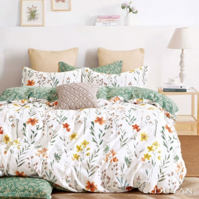 DUYAN竹漾-100%精梳純棉-單人三件式舖棉兩用被床包組-初晨花語 台灣製