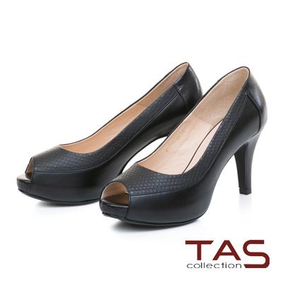 TAS素面壓紋羊皮魚口高跟鞋-經典黑