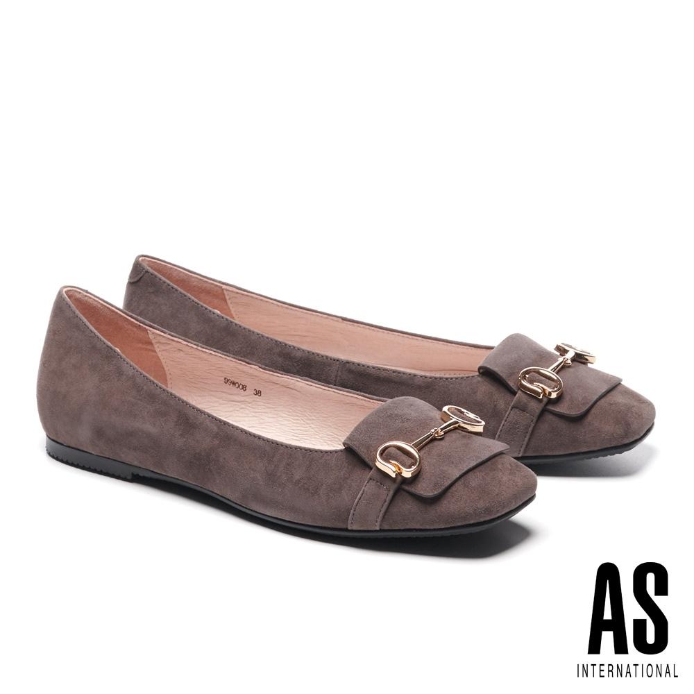 平底鞋 AS 經典知性金屬馬銜釦全真皮方頭平底鞋-可可