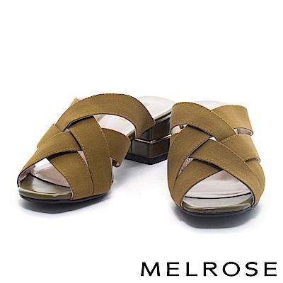 拖鞋 MELROSE 簡約編織交叉鬆緊帶粗跟拖鞋-綠