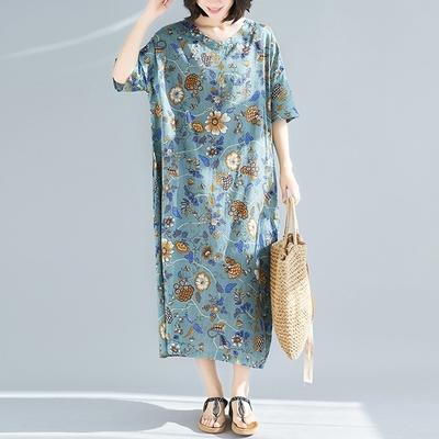 米蘭精品 連身裙短袖洋裝-碎花印花純棉長版女裙子73xz44