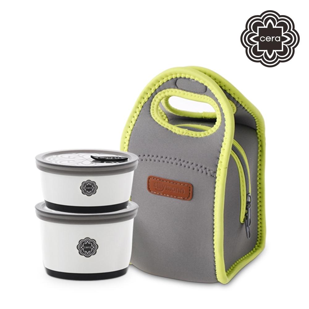 【韓國sillymann】 100%鉑金矽膠精品陶瓷環保餐盒+專用保溫袋二件組