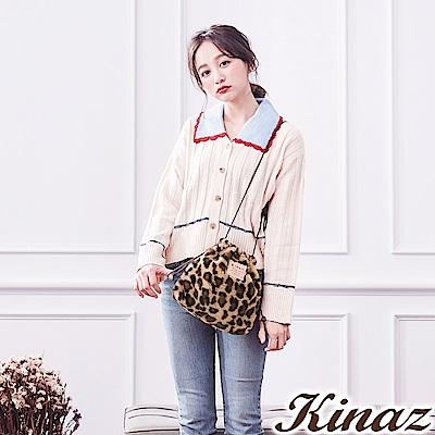 KINAZ 豹紋時尚兩用斜背包-雪絨Q萌系列