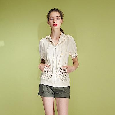 Hana+花木馬 鉚釘裝飾百搭反摺造型短褲-綠(2色)
