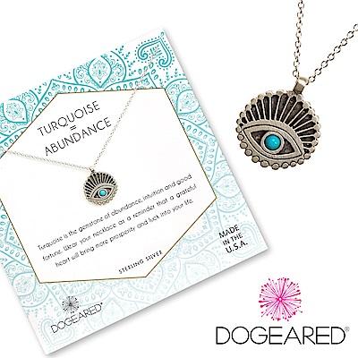 Dogeared Evil Eye 土耳其石眼睛錢幣項鍊 銀色 富足智慧之眼 附原廠盒