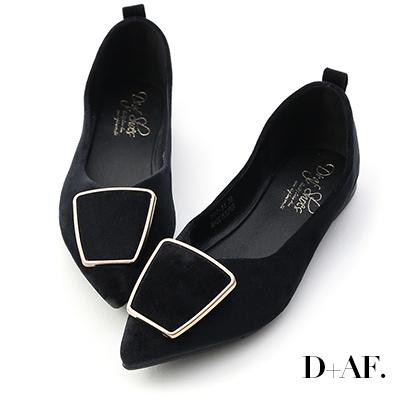 D+AF 都會風采.幾何釦飾尖頭平底鞋*黑