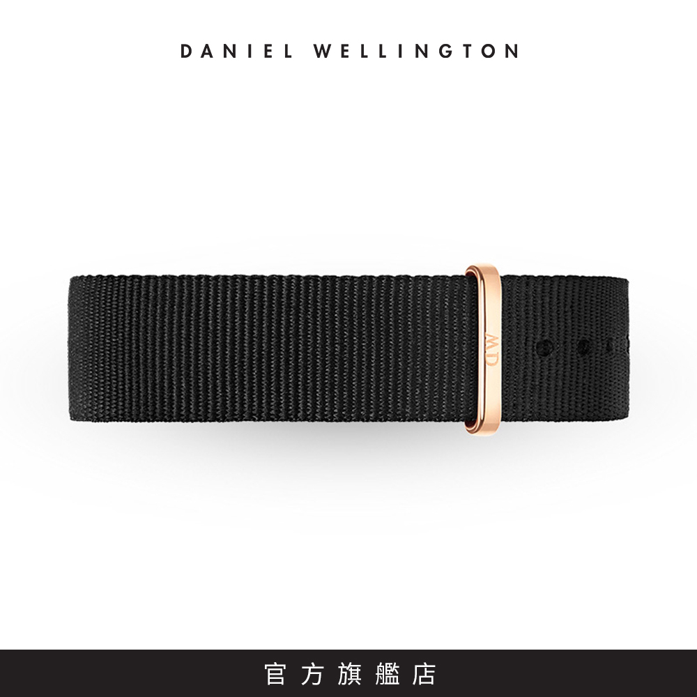 DW 錶帶 20mm金扣 寂靜黑織紋錶帶