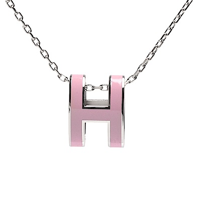 HERMES 經典Pop H立體簍空橢圓LOGO項鍊(玫瑰粉X銀)