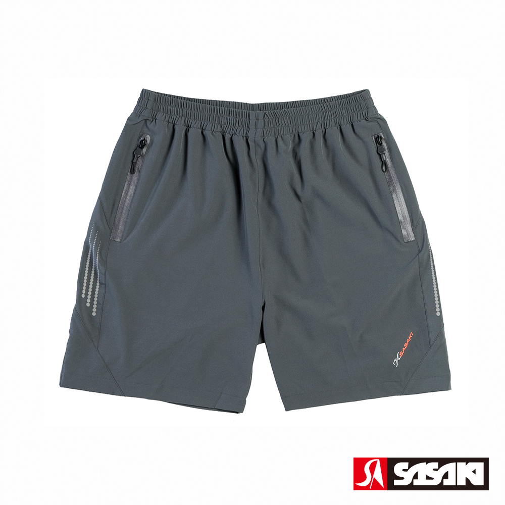 SASAKI 抗紫外線功能四面彈力網球短褲-男-深灰/艷桔-防疫居家運動首選