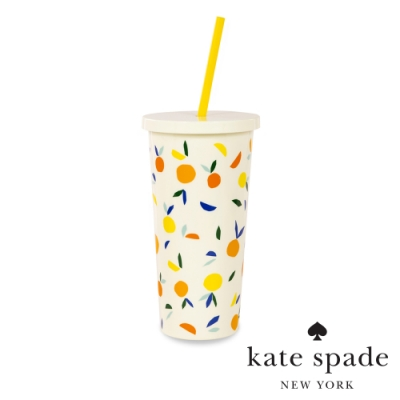 KATE SPADE 水果派對冷飲隨行杯 附吸管 Citrus Twist