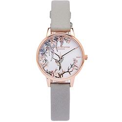 OLIVIA BURTON 鳥語花香風的皮革手錶(OB16PP22)-白面/30mm