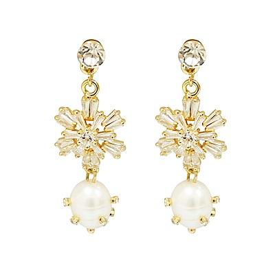 Prisme 美國時尚飾品 雪花時刻水晶珍珠 金色耳環 耳針式