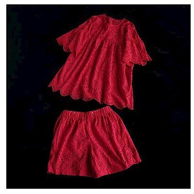 鈎花鏤空純棉套裝花邊t恤上衣寬管短褲-設計所在