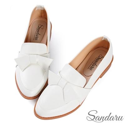 山打努SANDARU-小皮鞋 日系可愛蝶結尖頭低跟鞋-白