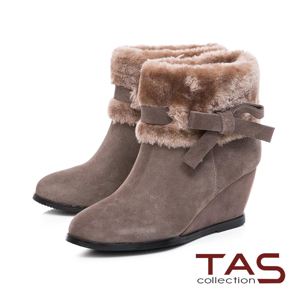 TAS 毛絨反折蝴蝶結繫帶內增高短靴-迷人灰